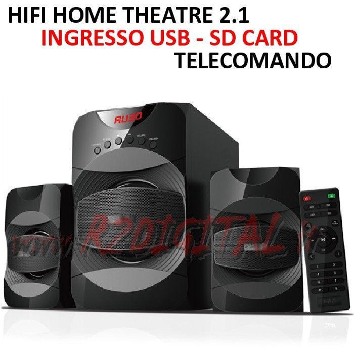 HI FI A3301 HOME THEATRE ALTOPARLANTI CASSE USB SD COMPUTER MP3